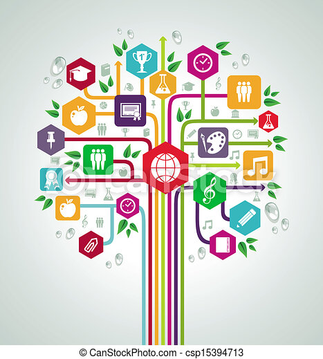 plat, school, netwerk, iconen, back, boom., opleiding - csp15394713