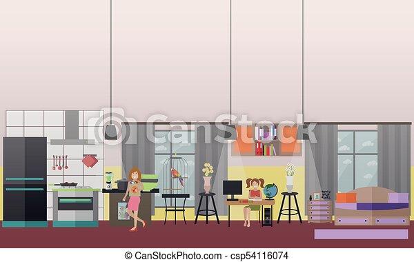 plat, set, gezin, iconen, vector, karakters, thuis - csp54116074