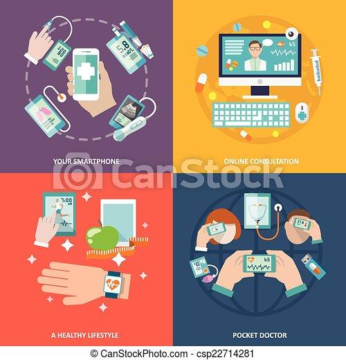 plat, set, gezondheid, digitale , iconen - csp22714281