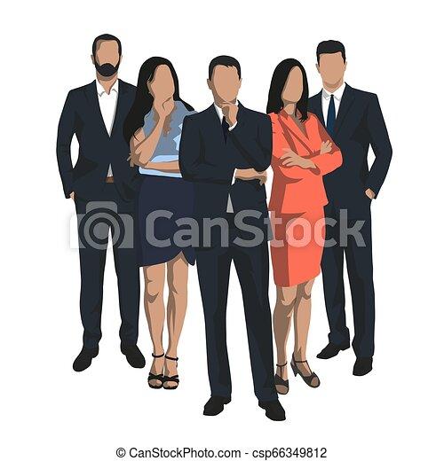 plat, set, groep, zakenlui, mannen, vrijstaand, vector, ontwerp, vrouwen, illustrations. - csp66349812