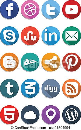 plat, sociaal, 1.0, iconen - csp21504994