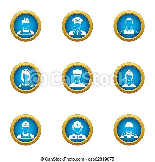 plat, stijl, iconen, set, beroep, belangrijk - csp62819675