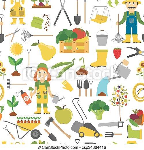 plat, stijl, werken, pattern., seamless, ontwerp, tuinieren, landbouw - csp34884416