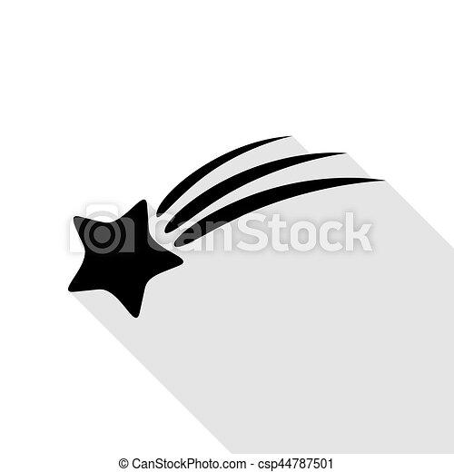 plat, style, étoile, signe., noir, ombre, tir, path., icône - csp44787501