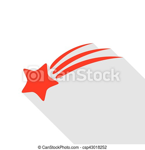 plat, style, étoile, signe., ombre, tir, path., rouges, icône - csp43018252