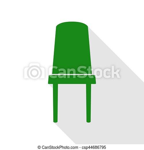 plat, style, bureau, signe., chaise verte, path., ombre, icône - csp44686795
