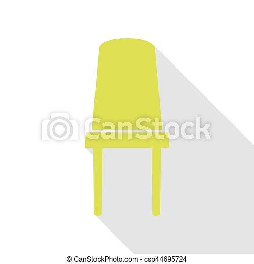 plat, style, bureau, signe., poire, chaise, path., ombre, icône - csp44695724