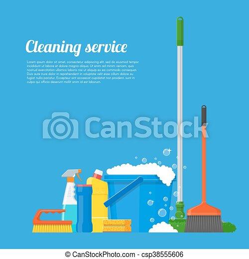 plat, style, concept, illustration., service, maison, compagnie, vecteur, conception, nettoyage, affiche, outils - csp38555606