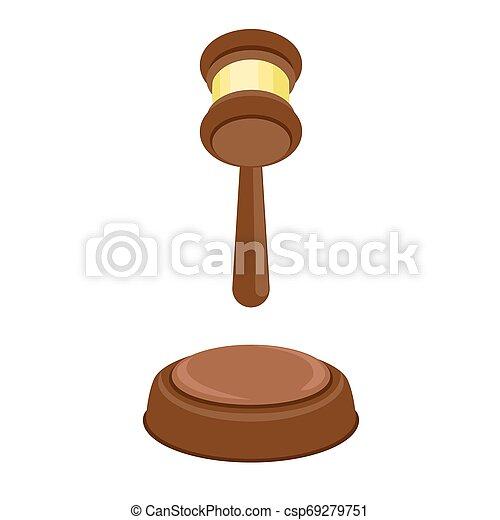 plat, style, décision, juge, icône, marteau - csp69279751
