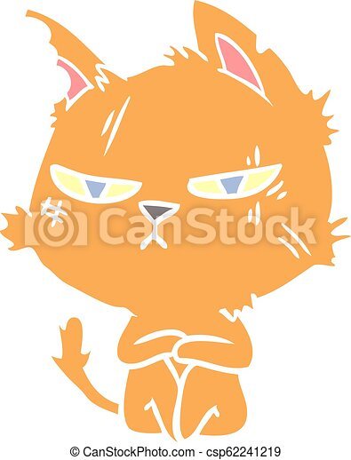 Plat Style Dur Couleur Chat Dessin Anime Canstock
