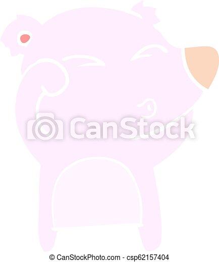 plat, style, fatigué, couleur, yeux frottage, ours, dessin animé - csp62157404