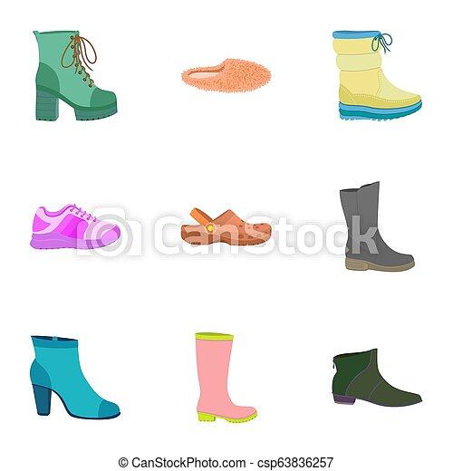plat, style, femme, chaussures, ensemble, icône - csp63836257