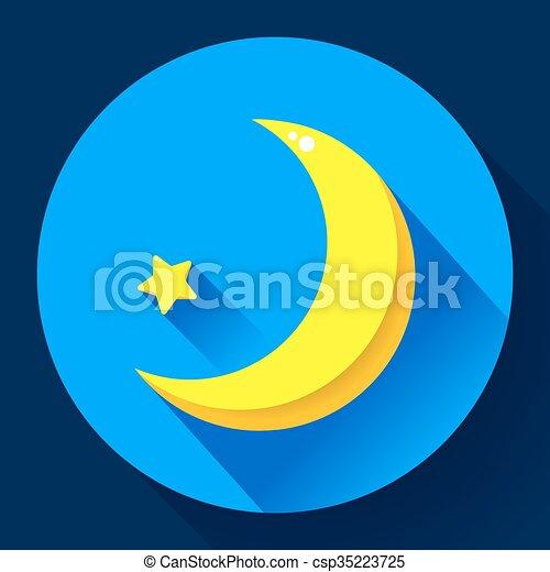 plat, style, -, lune, vecteur, conception, étoiles, nuit, icon. - csp35223725