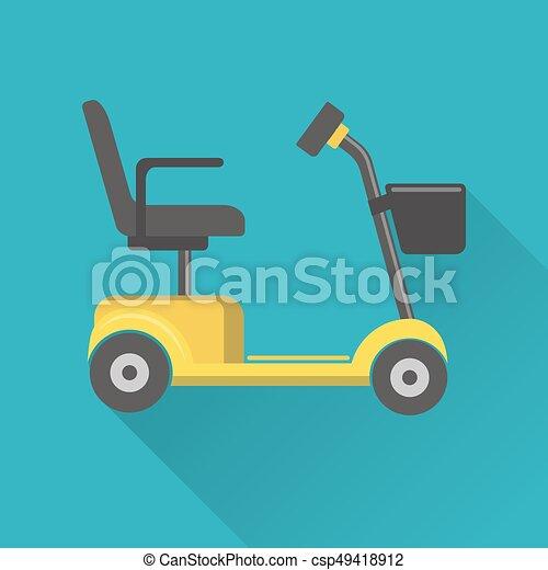 plat, style, mobilité, scooter, icône - csp49418912
