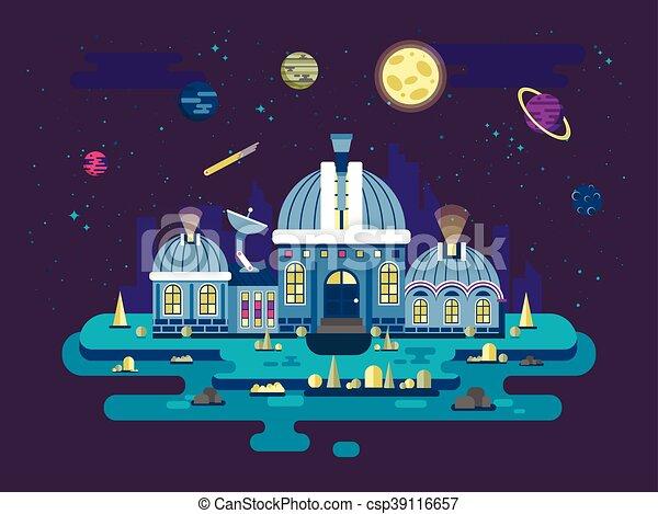 plat, style, observatoire, ovnis, illustration espace, exploration - csp39116657