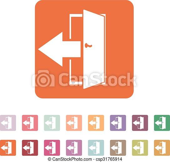 plat, symbole., sortie, sortie, rendement, logout, icon., dehors - csp31765914