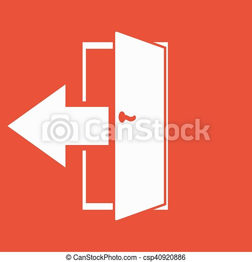 plat, symbole., sortie, sortie, rendement, logout, icon., dehors - csp40920886