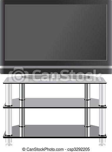 plat, tã©lã©viseur, tv, moderne, stand, panneau - csp3292205