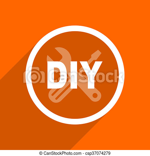 plat, toile, mobile, app, button., illustration, conception, bricolage, orange, icon. - csp37074279