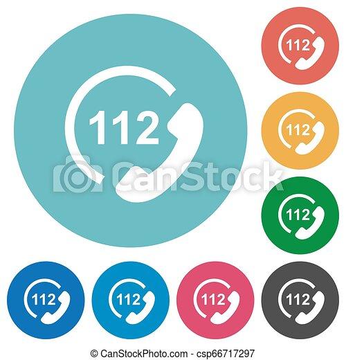 plat, urgence, icônes, appeler, 112, rond - csp66717297