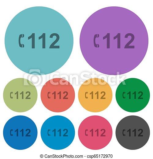 plat, urgence, icônes, couleur, appeler, 112, plus sombre - csp65172970