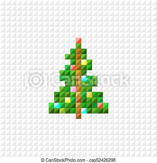 Plat Vecteur Art Pixel Arbre Conception Noel Canstock