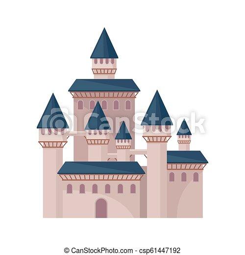 plat, vecteur, fortress., tours, grand, royal, roofs., élevé, grand, livre, château, conte, fée, élément, conique, enfants - csp61447192