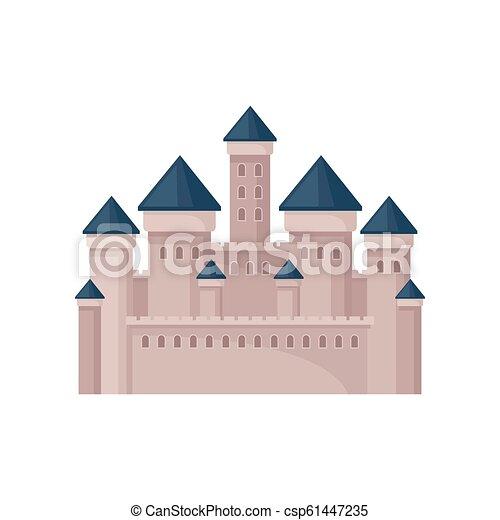 plat, vecteur, moyen-âge, tours, castle., royal, roofs., grand, mobile, jeu, livre, enfants, conique, ou, forteresse, carte postale - csp61447235
