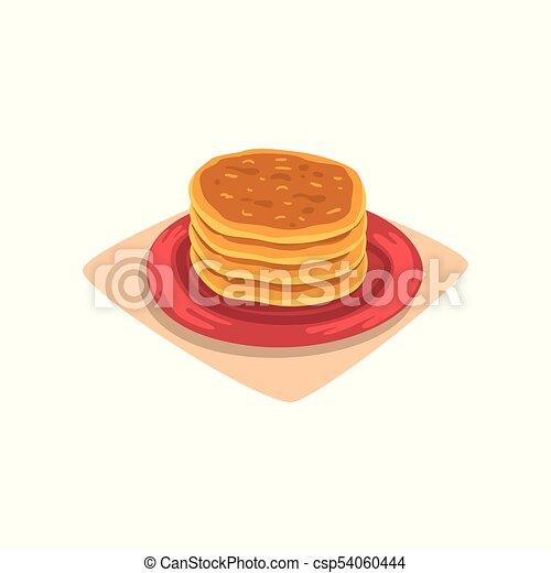 Plat Vecteur Plaque Nourriture Menu Concept Ou Recette Jeune Dessin Anime Dessert Crepes Livre Savoureux Delicieux Conception Petit