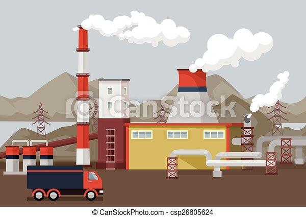 plat, vecteur, usine, illustration - csp26805624