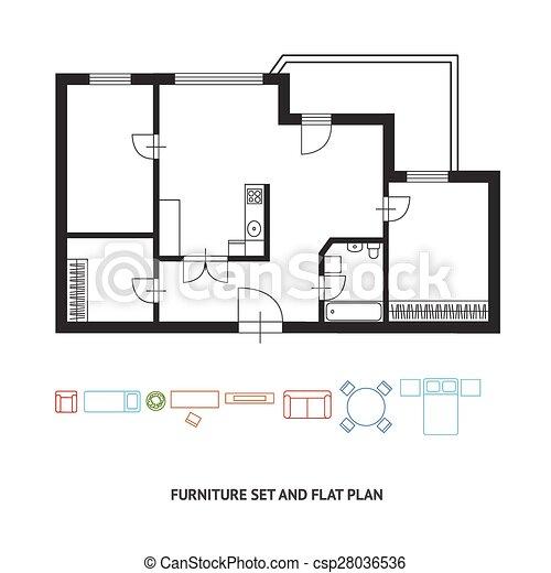 amazing plat vector ontwerp plan architect meubel with