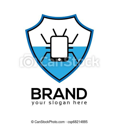 plat, virus bescherming, ontwerp, logo, template. - csp68214885