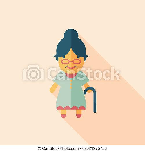 plat, vrouw, oud, lang, schaduw, pictogram - csp21975758