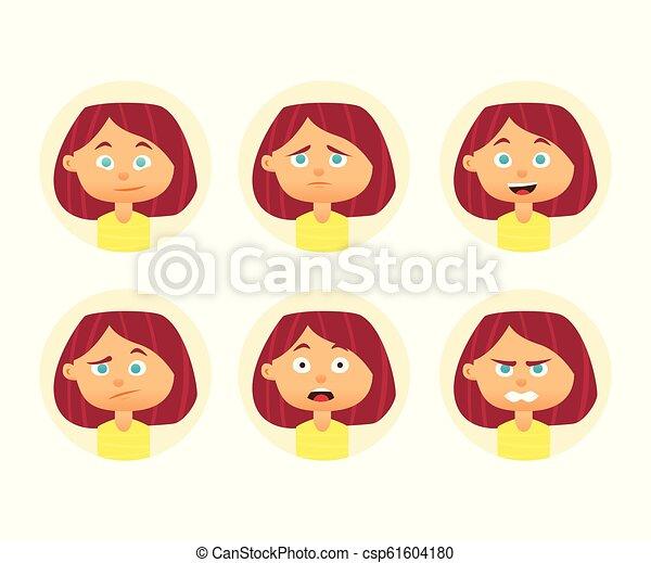 plat, vrouw, set, expression., illustratie, avatar., vector, ontwerp, emotions., gezichts, meisje - csp61604180