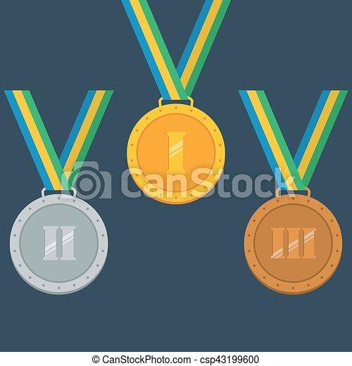 Oro, plata, medallas de bronce - csp43199600