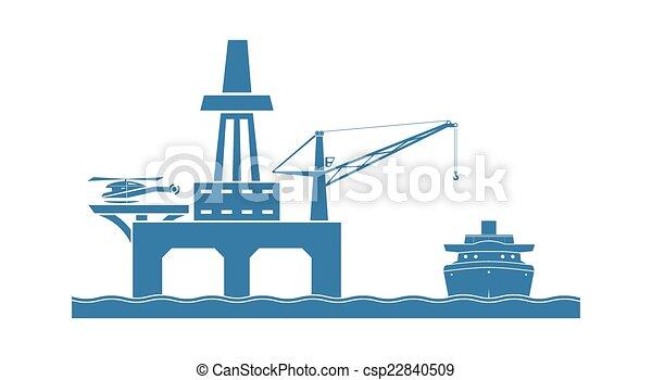 plataforma, aceite, costa afuera - csp22840509