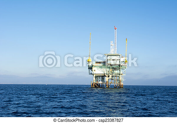 plataforma, aceite, costa afuera - csp23387827