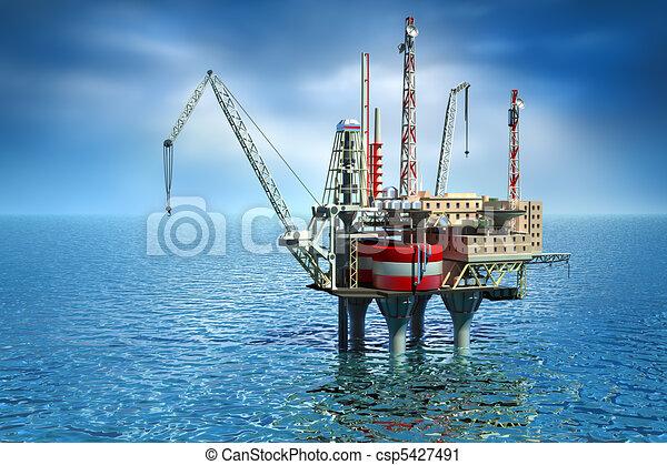 Perforando la plataforma en el mar. - csp5427491