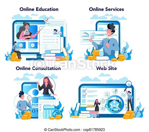plataforma, set., servicio, underwriter, empresa / negocio, o, financiero, seguro, en línea - csp81785923