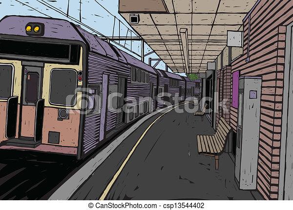plataforma, treine estação - csp13544402