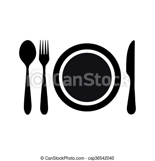 plate fork knife spoon icon - csp36542040