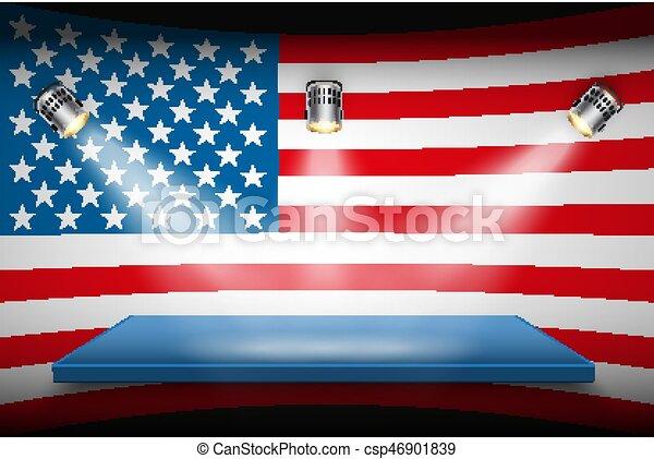 plate-forme, drapeau, projecteurs, usa - csp46901839