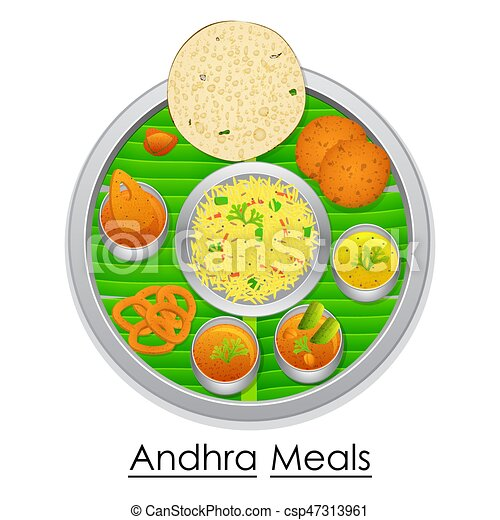 Vector illustration of plate full of delicious andhra ...