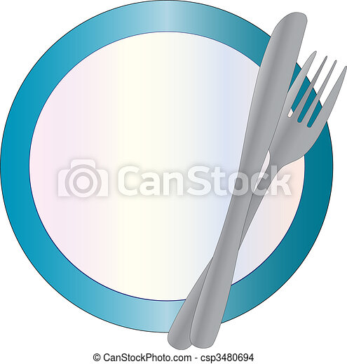 Plate, knife and fork - csp3480694