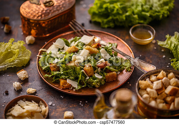 Plate of Caesar Salad - csp57477560