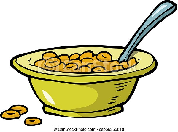 plate of cereal on a white background vector illustration rh canstockphoto com Cartoon Cereal Bowl Cartoon Cereal Bowl