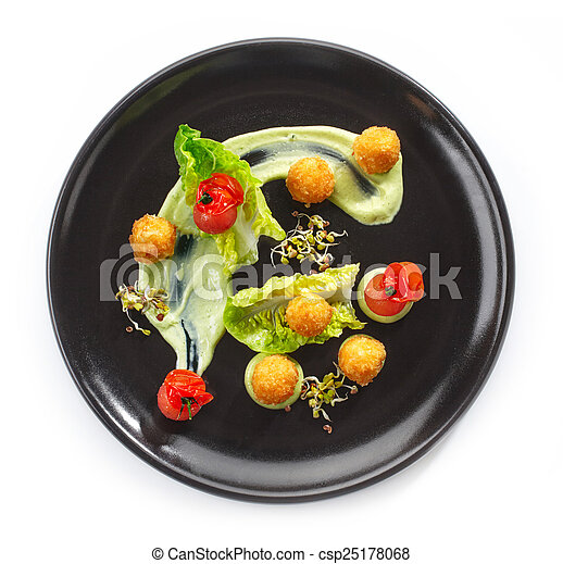 Plate of cheese balls and vegetables - csp25178068  sc 1 st  Can Stock Photo & Plate of cheese balls and vegetables on a white background stock ...