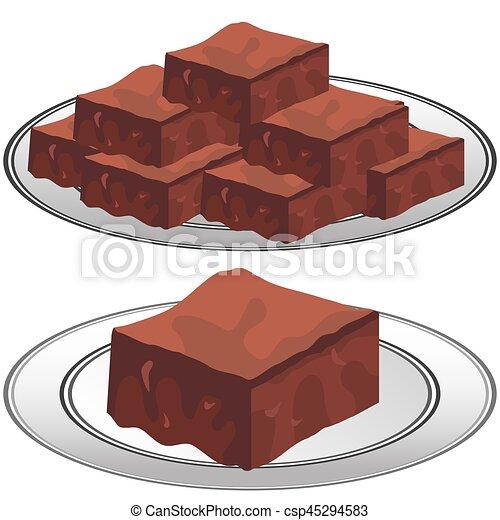 Plate of Chocolate Fudge Brownies - csp45294583