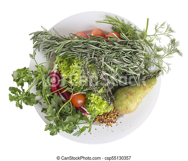 Plate of herbs and vegetables. - csp55130357