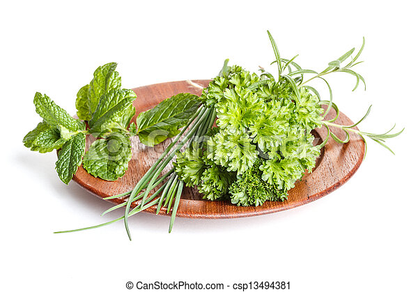 Plate of herbs - csp13494381